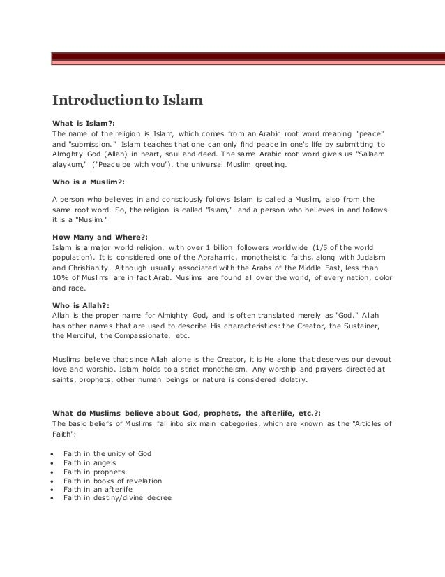 Introduction of islam introductionto islam what is islam the name of the religion is islam m4hsunfo