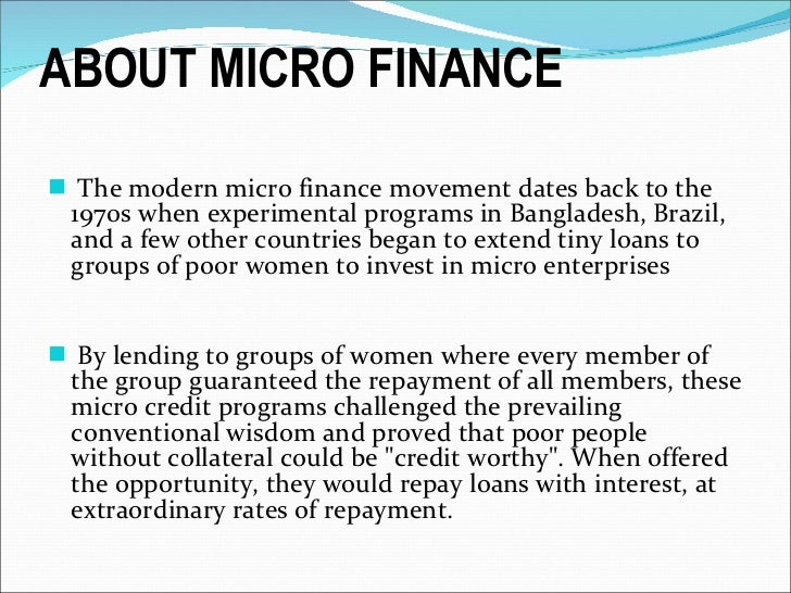 introduction microfinance The case for microfinance in africa over three billion people in developing countries are still without effective access to loan and deposit services.