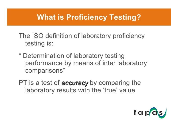 an introduction to the proficiency testing A proficiency test (pt) is simply, a method that you may use to validate a  particular measurement process the artifact's reference value is not known by  the.