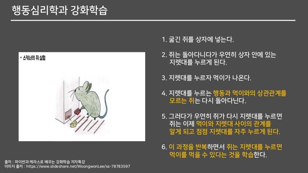 행동심리학과 강화학습 1. 굶긴 쥐를 상자에 넣는다. 2. 쥐는 돌아다니다가 우연히 상자 안에 있는 지렛대를 누르게 된다. 3. 지렛대를 누르자 먹이가 나온다. 4. 지렛대를 누르는 행동과 먹이와의 상관관계를 모르는 쥐...