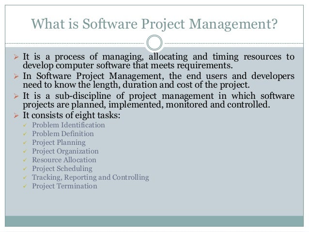 software project management assignment On the other hand, project scope management is also subject to many factors, one of which is the software methodology in use this paper outlines the influences of changes in software development methodologies on scope management.