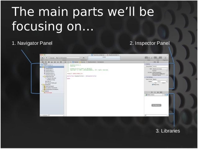 The main parts we'll be  focusing on…  1. Navigator Panel  2. Inspector Panel  3. Libraries