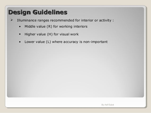 Design GuidelinesDesign Guidelines Illuminance Ranges Recommended For Interior Or Activity