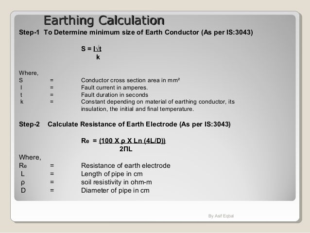 Introduction on indian codes as applied in electrical design by asif eqbal 27 earthing calculationearthing calculation greentooth Images