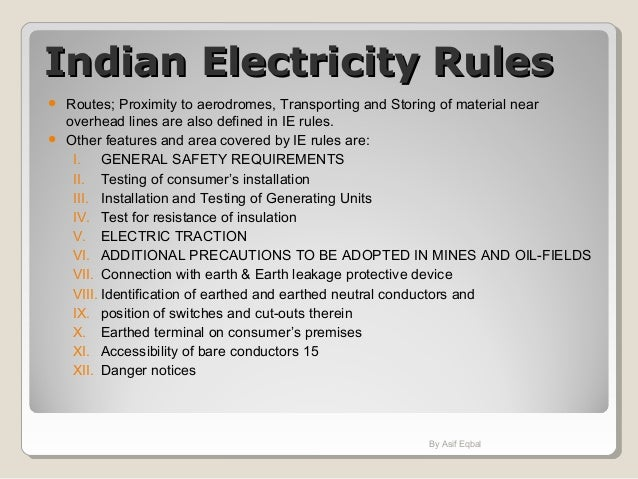 Indian Electricity Board Rules
