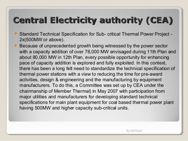Central Electricity authority (CEA)Central Electricity authority (CEA)  Standard Technical Specification for Sub- critica...