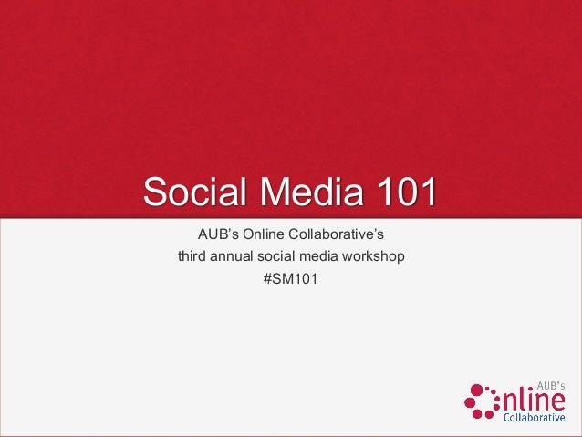 Social Media 101     AUB's Online Collaborative's third annual social media workshop             #SM101