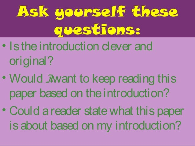 """introductions and conclusions Activity 1 opener: ask the class the following question (this may be written on the board ahead of time): """"what is."""