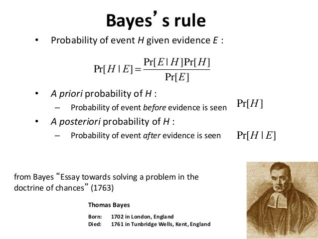 essay toward solving poblem thomas bayes The discussion is focused on the probable response of thomas bayes to david hume's celebrated argument against miracles an essay towards solving a problem in the doctrine of chances 5 bayes, hume, price, and miracles 6 propensities may satisfy bayes's theorem.