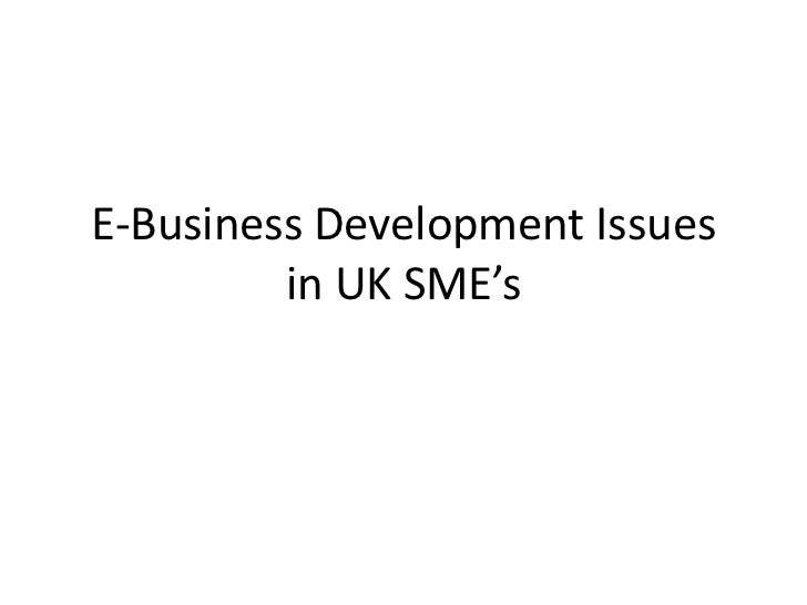 E-Business Development Issues         in UK SME's