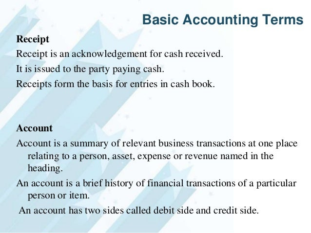 32. Basic Accounting Terms Receipt Receipt Is An Acknowledgement For Cash  Received.  Acknowledgement Of Cash Received