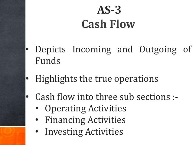 AS-3 Cash Flow • Depicts Incoming and Outgoing of Funds • Highlights the true operations • Cash flow into three sub sectio...