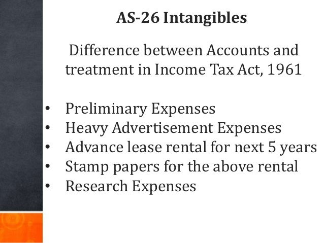 AS-26 Intangibles Difference between Accounts and treatment in Income Tax Act, 1961 • Preliminary Expenses • Heavy Adverti...