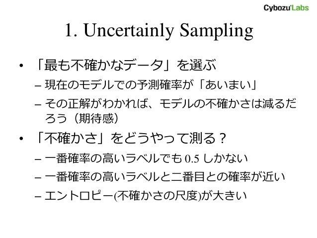 1. Uncertainly Sampling • 「最も不確かなデータ」を選ぶ – 現在のモデルでの予測確率が「あいまい」 – その正解がわかれば、モデルの不確かさは減るだ ろう(期待感) • 「不確かさ」をどうやって測る? – 一番確率の高...