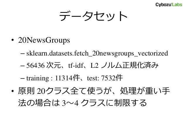 データセット • 20NewsGroups – sklearn.datasets.fetch_20newsgroups_vectorized – 56436 次元、tf-idf、L2 ノルム正規化済み – training : 11314件、t...