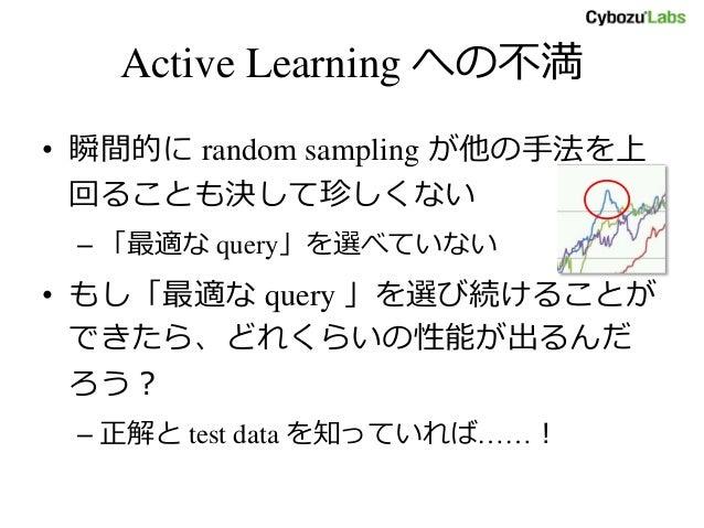 Active Learning への不満 • 瞬間的に random sampling が他の手法を上 回ることも決して珍しくない – 「最適な query」を選べていない • もし「最適な query 」を選び続けることが できたら、どれくら...