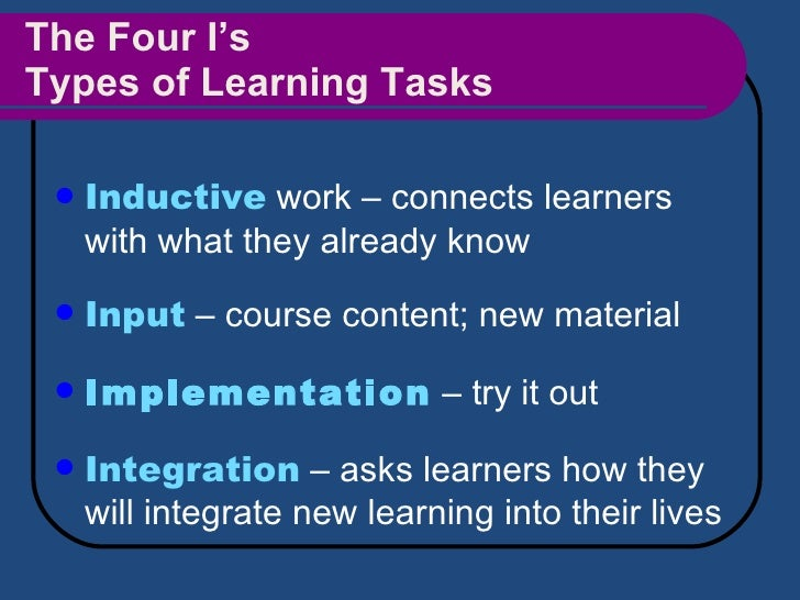 The Four I's Types of Learning Tasks <ul><li>Inductive  work – connects learners with what they already know </li></ul><ul...