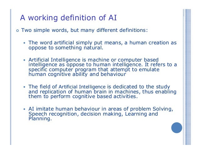 the description of the artificial intelligence