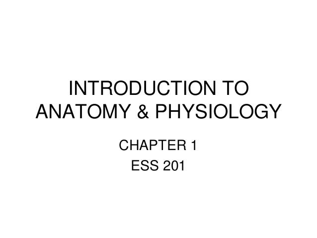 INTRODUCTION TO ANATOMY & PHYSIOLOGY CHAPTER 1 ESS 201