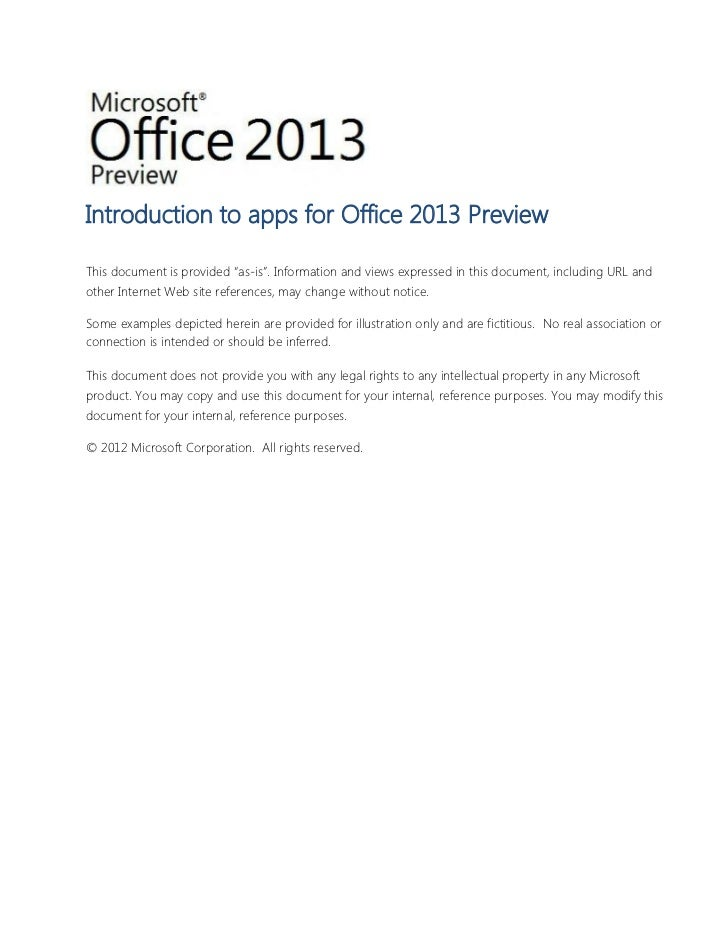 "Introduction to apps for Office 2013 PreviewThis document is provided ""as-is"". Information and views expressed in this doc..."