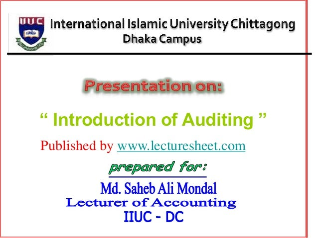 """ Introduction of Auditing ""Published by www.lecturesheet.com"