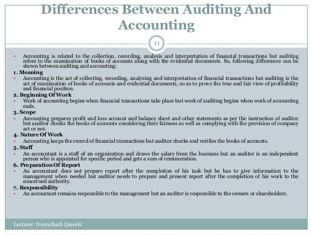 accounting and auditing differences Financial auditing is a wholly different term that needs to be distinguished from fraud auditing—and forensic accounting in general therefore financial auditors and fraud auditors are two different specialized-skills and disciplines, in the auditing fields.