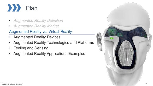 Plan • Augmented Reality Definition • Augmented Reality Market Augmented Reality vs. Virtual Reality • Augmented Reality D...
