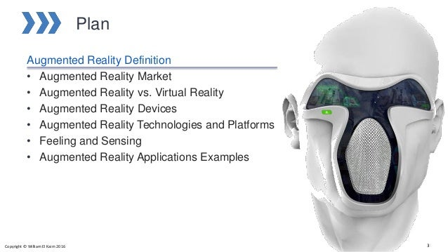 Plan Augmented Reality Definition • Augmented Reality Market • Augmented Reality vs. Virtual Reality • Augmented Reality D...