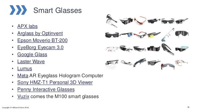 Smart Glasses • APX labs • Arglass by Optinvent • Epson Moverio BT-200 • EyeBorg Eyecam 3.0 • Google Glass • Laster Wave •...