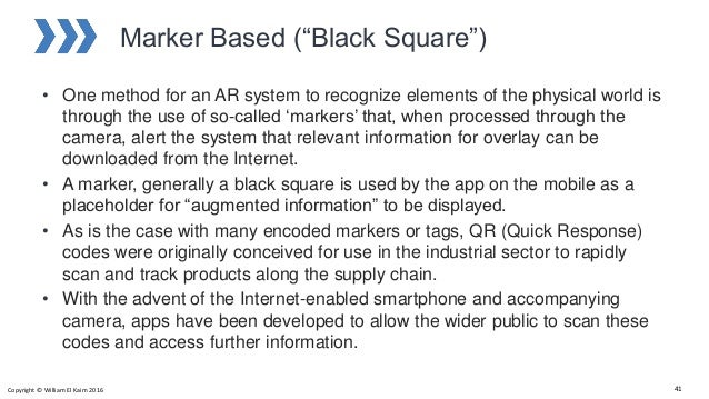 """Marker Based (""""Black Square"""") • One method for an AR system to recognize elements of the physical world is through the use..."""
