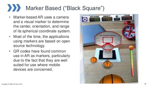 """Marker Based (""""Black Square"""") • Marker-based AR uses a camera and a visual marker to determine the center, orientation, an..."""