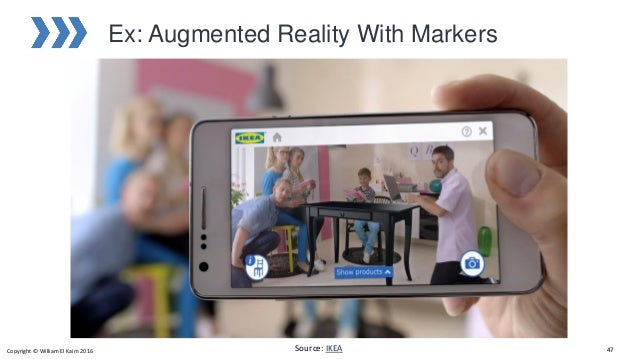 Ex: Augmented Reality With Markers Source: IKEACopyright © William El Kaim 2016 47