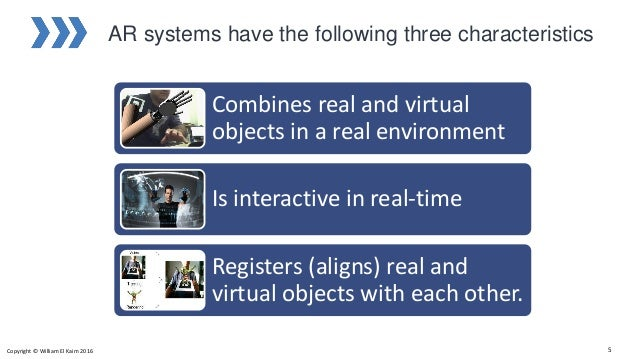 Combines real and virtual objects in a real environment Is interactive in real-time Registers (aligns) real and virtual ob...