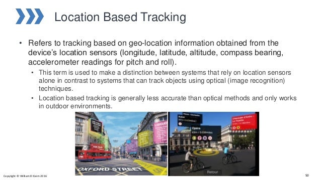 Location Based Tracking • Refers to tracking based on geo-location information obtained from the device's location sensors...