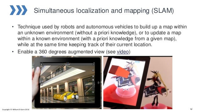Simultaneous localization and mapping (SLAM) • Technique used by robots and autonomous vehicles to build up a map within a...