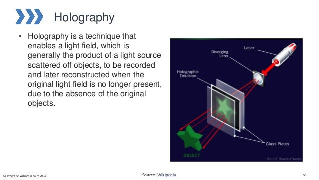 Holography • Holography is a technique that enables a light field, which is generally the product of a light source scatte...