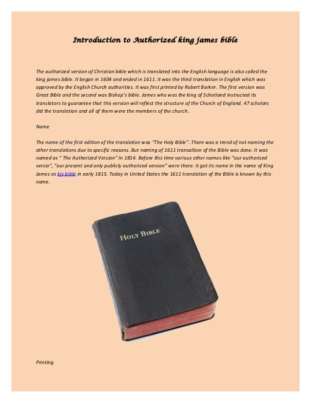 Introduction to Authorized king james bible