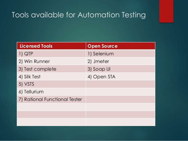 Tools available for Automation Testing Licensed Tools Open Source 1) QTP 1) Selenium 2) Win Runner 2) Jmeter 3) Test compl...