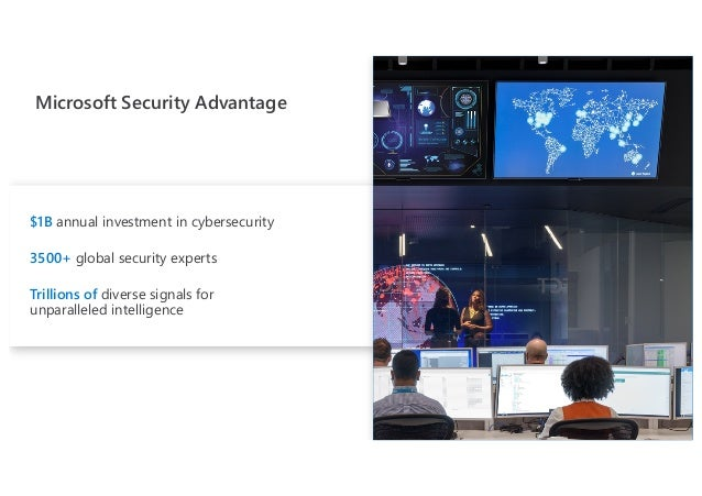 Microsoft Security Advantage $1B annual investment in cybersecurity 3500+ global security experts Trillions of diverse sig...