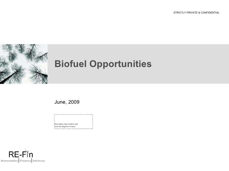 Biofuel Opportunities June, 2009 STRICTLY PRIVATE & CONFIDENTIAL