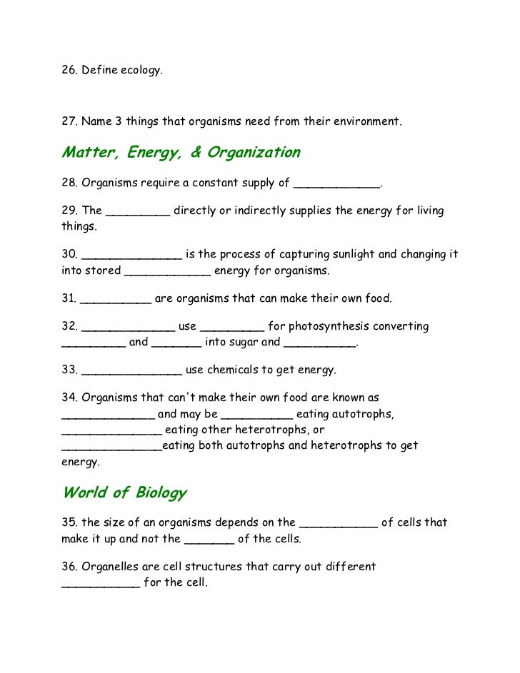 Introduction To Biology Worksheet – Biology Worksheets