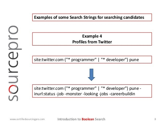 """Introduction to Boolean Search Examples of some Search Strings for searching candidates site:twitter.com (""""* programmer""""  ..."""