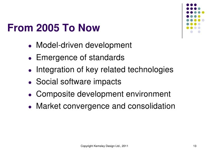 From 2005 To Now   l   Model-driven development   l   Emergence of standards   l   Integration of key related technologies...