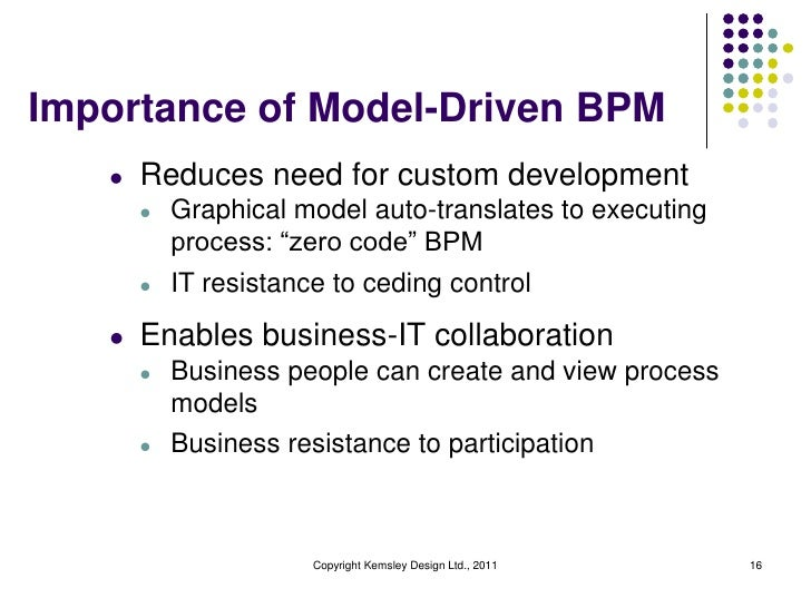 Importance of Model-Driven BPM   l   Reduces need for custom development       l   Graphical model auto-translates to exec...