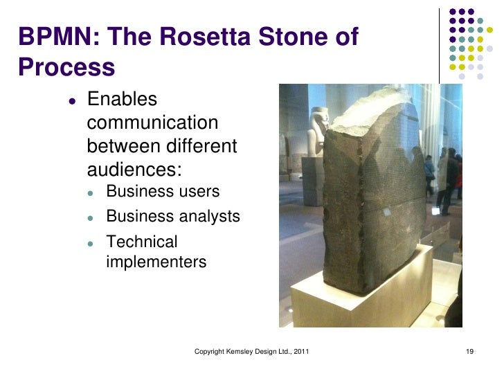 BPMN: The Rosetta Stone ofProcess   l   Enables       communication       between different       audiences:       l   Bus...