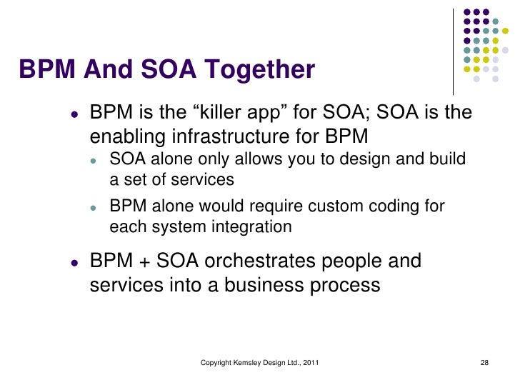 "BPM And SOA Together   l   BPM is the ""killer app"" for SOA; SOA is the       enabling infrastructure for BPM       l   SOA..."
