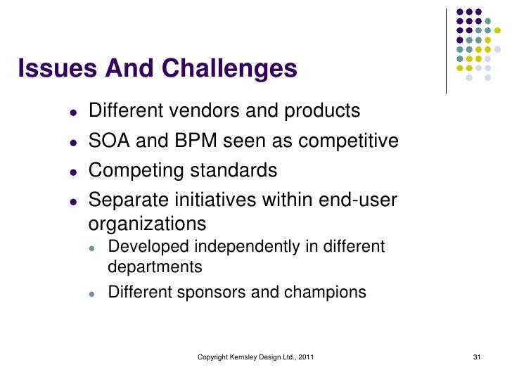 Issues And Challenges   l   Different vendors and products   l   SOA and BPM seen as competitive   l   Competing standards...