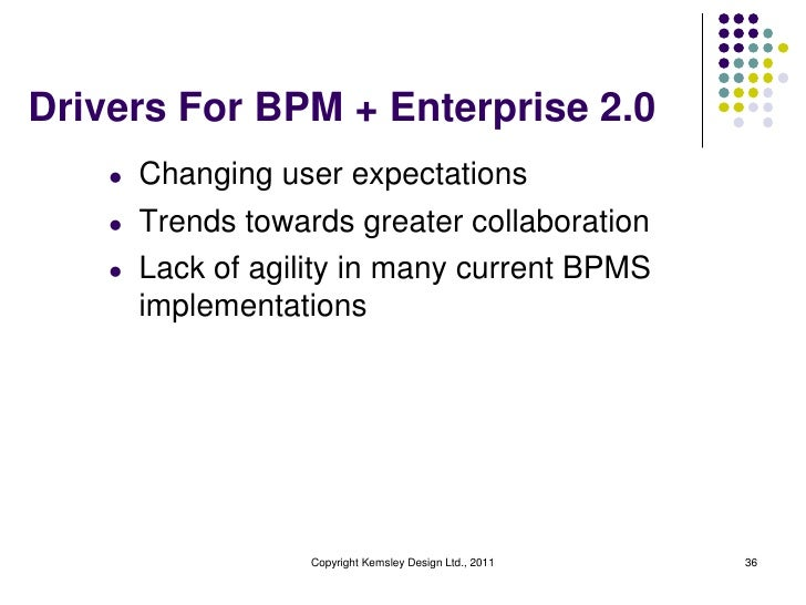 Drivers For BPM + Enterprise 2.0    l   Changing user expectations    l   Trends towards greater collaboration    l   Lack...