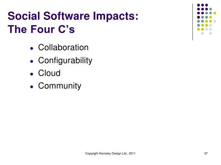 Social Software Impacts:The Four C's    l   Collaboration    l   Configurability    l   Cloud    l   Community            ...