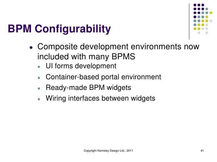 BPM Configurability   l   Composite development environments now       included with many BPMS       l   UI forms developm...